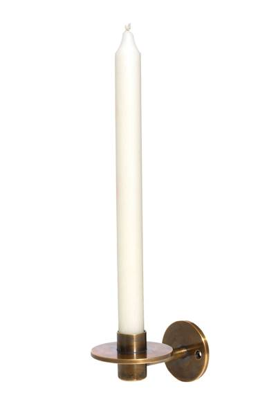 Brass wall-mounted candleholder