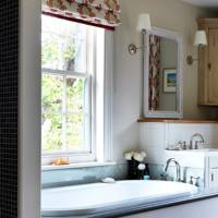 Bathroom with Red & White Blind