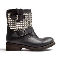Silver Studded Ankle Biker Boots