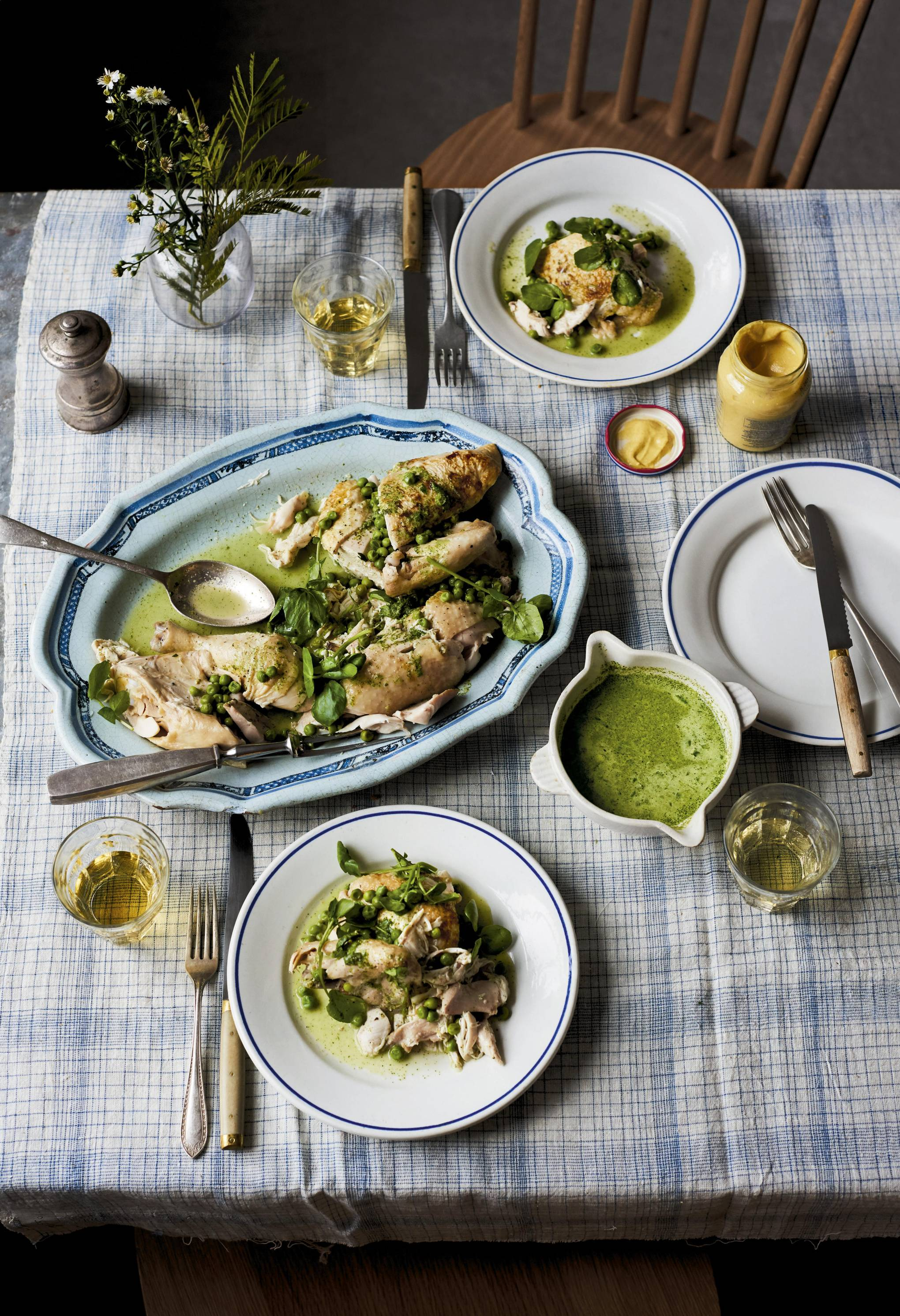 Belval pot-roast chicken with watercress and peas