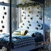 Gold Stars in Christmas Bedroom
