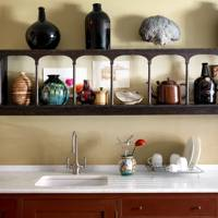 Kitchen sink and antique shelf