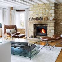 Modern Stone Fireplace Living Room