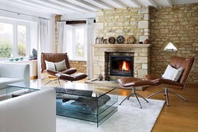 Stone Fireplace - Stylish Cotswolds Barn