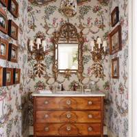 Wallpapered Powder Room