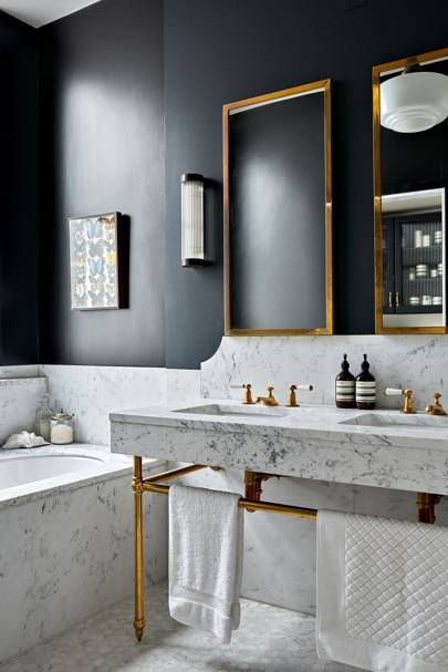 Marble Double Vanity with Brass Accents