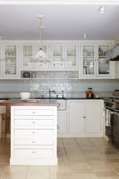 White Glass-Fronted Kitchen Cabinets