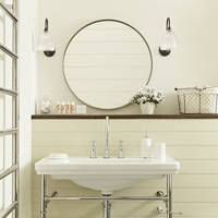 Bathroom with Circular Mirror