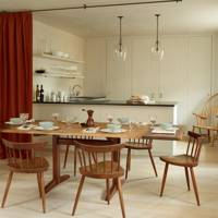 Kitchen Dining Room with Dividing Curtain