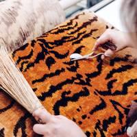 Tiger print silk velvet