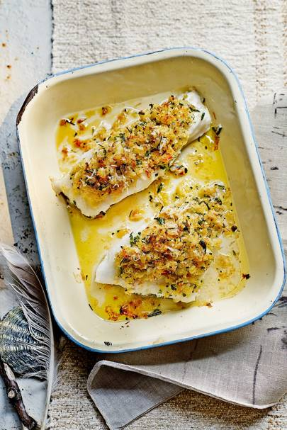 Cod with a crab and herb crust