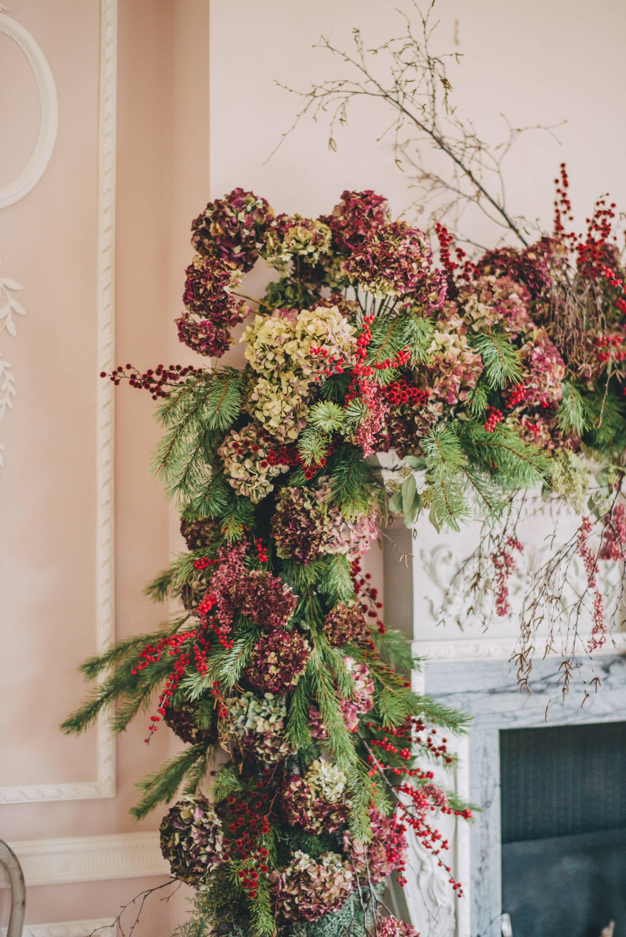 Fresh, romantic ideas for Christmas flower arrangements from florist Kitten Grayson