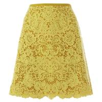 Mustard Floral Pattern Lace Skirt