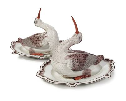 A PAIR OF HÖCHST PORCELAIN WOODCOCK TUREENS AND COVERS