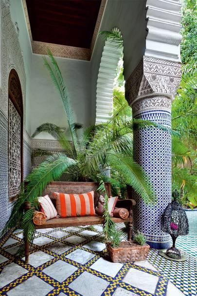 Riad Enija's Moroccan Tiled Loggia