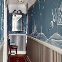 Narrow Victorian Hallway Blue Chinese Mural