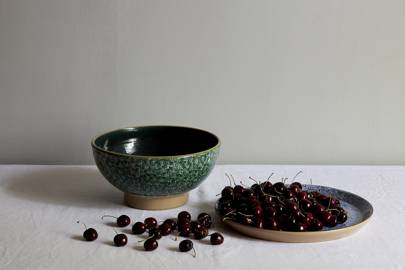 Lawn-Pattern Green Bowl and Blue Platter with Cherries by Nicholas Mosse