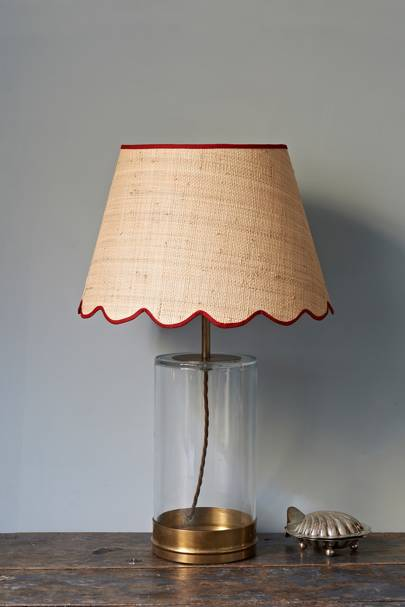 Raffia Scallop Lampshade With Red Trim