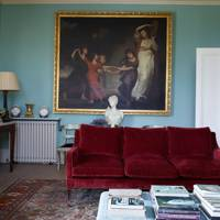 Drawing Room Velvet Sofa - Traditional Cornwall House