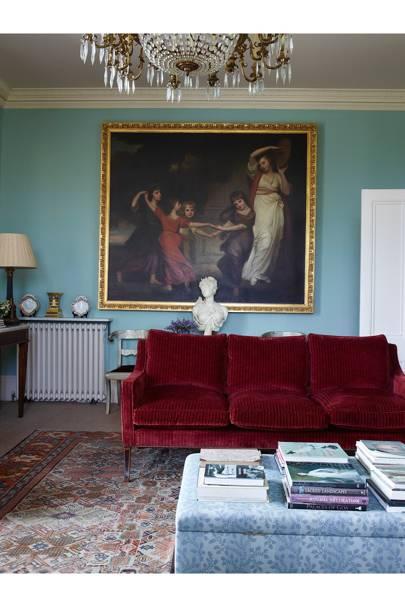 Drawing Room Velvet Sofa - Traditional Cornwall House