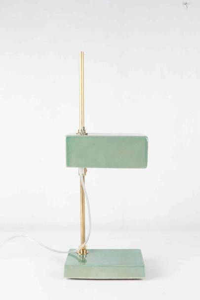Ceramic and Brass Pale Green Lamp