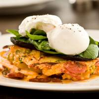 Chorizo Hash Brown, Mushrooms & Eggs at The Riding House Cafe