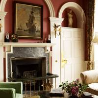 Red Living Room in Country House
