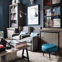 Navy blue living room idea