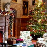 Traditional English Christmas Living Room