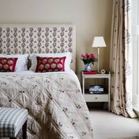Cream & Red Bedroom with Printed Fabrics