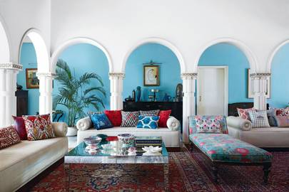 Living Room With Soft Blue Walls