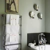 Grey Bathroom with Candle Sconces
