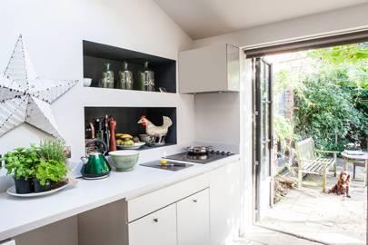 Recessed Wall Storage in White Kitchen