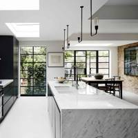 Monochrome Kitchen with Marble Island