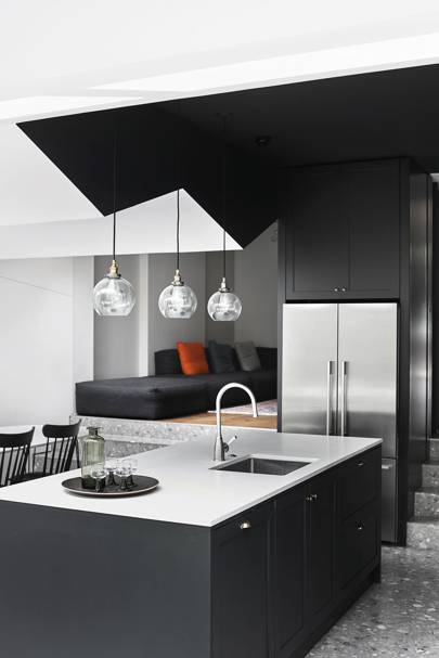 Small Contemporary Monochrome Kitchen