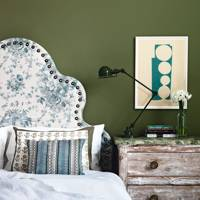 Olive Green Bedroom with Floral Headboard