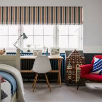 Children's Bedroom with Striped Blind
