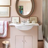 Small Pink Traditional Bathroom