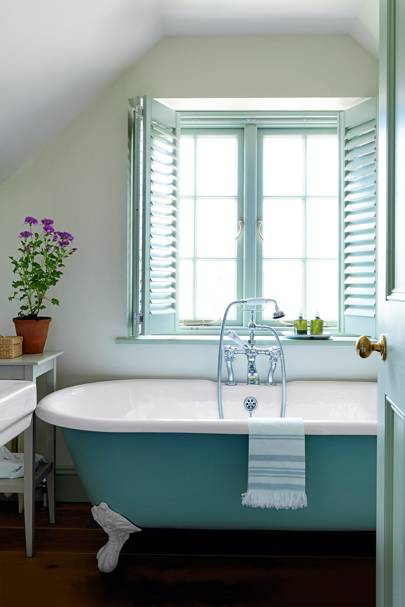 Turquoise Bath and Shutters