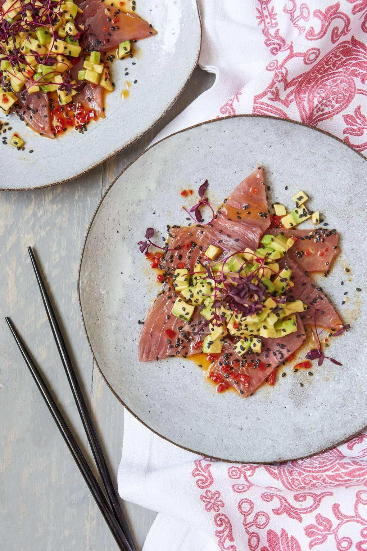 Tuna sashimi with avocado and yuzu dressing