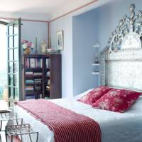 Silver Headboard in Blue Bedroom