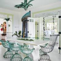 Dining room with verdigris garden furniture