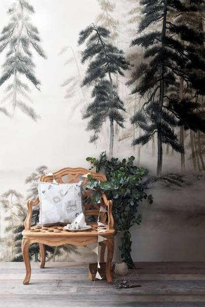 De Gournay Abstract Pines wallpaper - Christmas Decorating Ideas