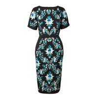Pencil Dress With Empire Embroidery