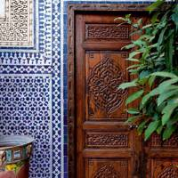 Blue White Zellij Tiled Doorframe Riad Enija - Moroccan Gardens