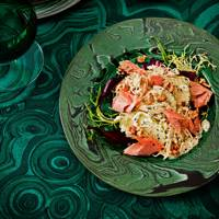 Apple, celeriac and walnut salad with smoked trout and crème fraîche dressing