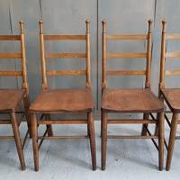 Set of 4 Antique Oak Arts & Crafts Church Chairs, £264