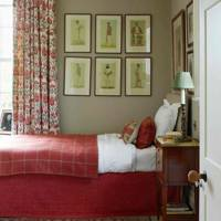 Red and Beige Bedroom - West Country Newbuild Country House