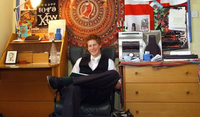 Prince Harry's Eton dorm room is the quintessential teen boy interior