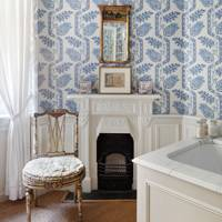 Blue & White Bathroom with Wallpaper